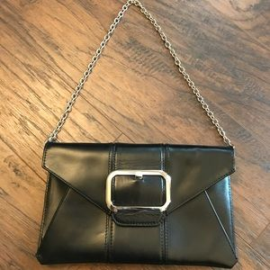 Banana Republic Cow Hide Leather Black Clutch Tote